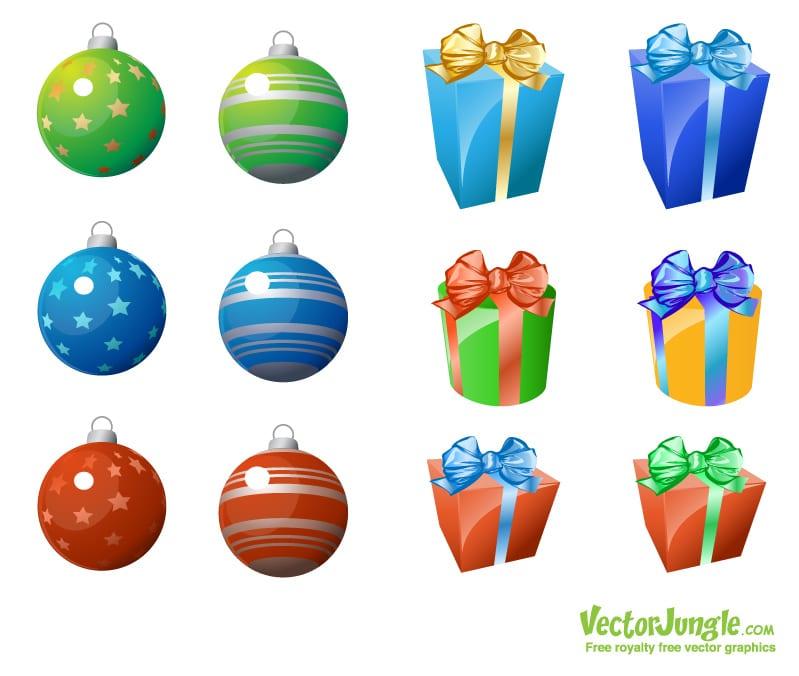 Vectores de regalos y esferas de navidad for Dibujos de navidad bolas