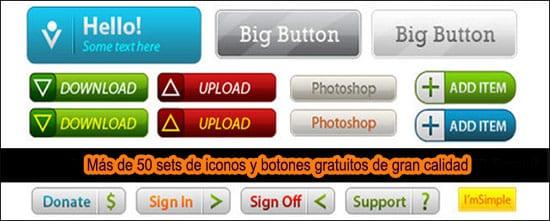 Más de 50 sets de iconos y botones de gran calidad gratis