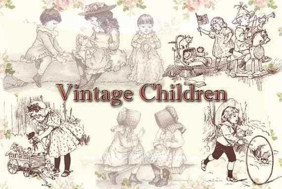 Pinceles vintage de niños