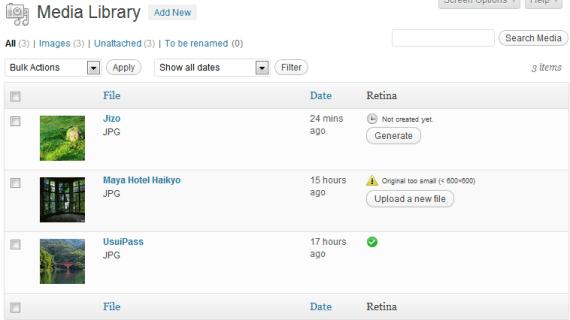WordPress pantallas retina