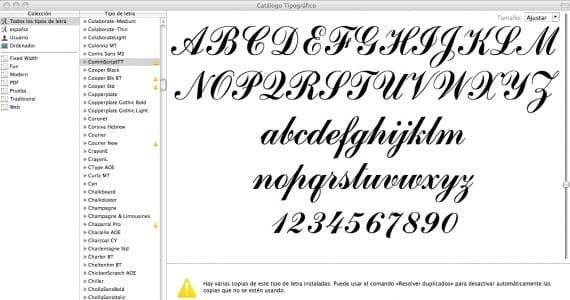 Resolver las fuentes duplicadas en el Catálogo Tipográfico de mac