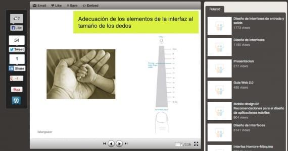 Adecuación de elementos al tamaño de los dedos, usabilidad