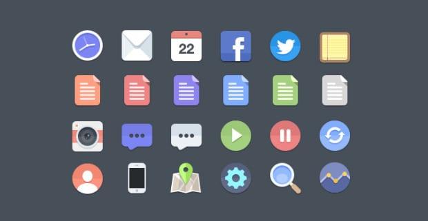 6 sets de iconos planos gratis