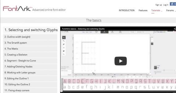FontArk, el editor avanzado de tipografías on-ine
