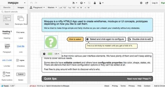 Moqups, aplicación on-line para crear wireframes