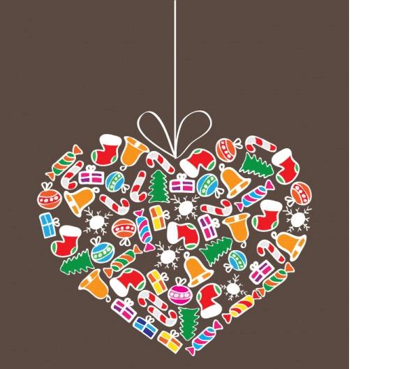 Corazón de regalos de Navidad