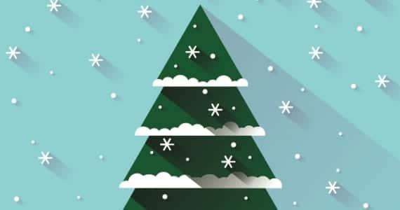 Postal de navidad, árbol en 3D
