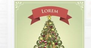 Postal con ilustración de árbol de Navidad - Postales de Navidad gratuitas