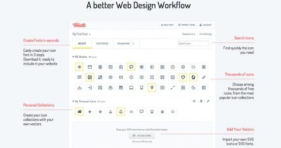 Convertir iconos en tipografía