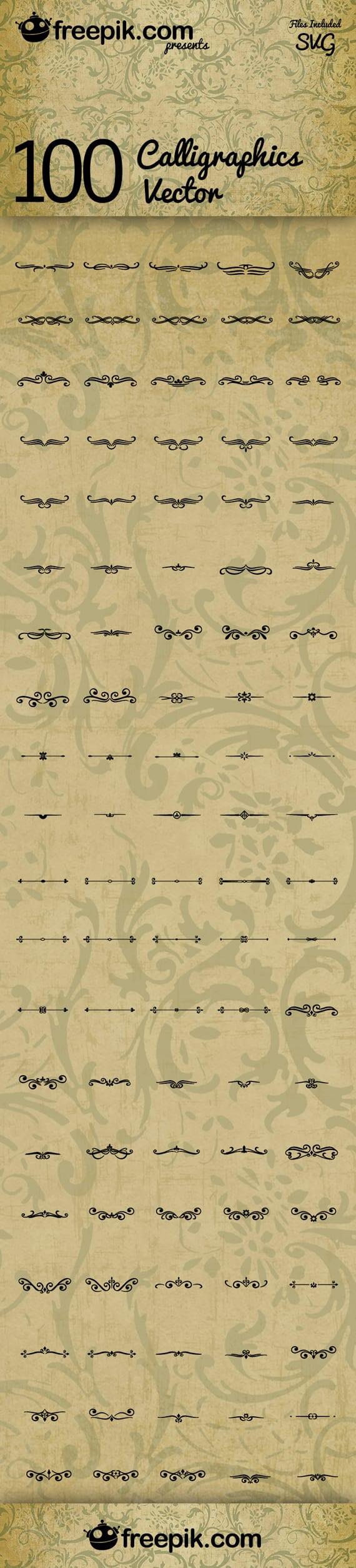 100 Vectores caligráficos gratuitos