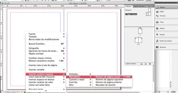 Insertar números de página en InDesign