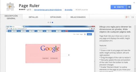 Page Ruler, extensiones de Google Chrome útiles