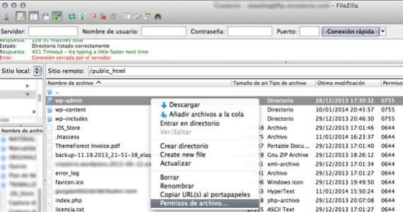 Los permisos de archivo en FileZilla