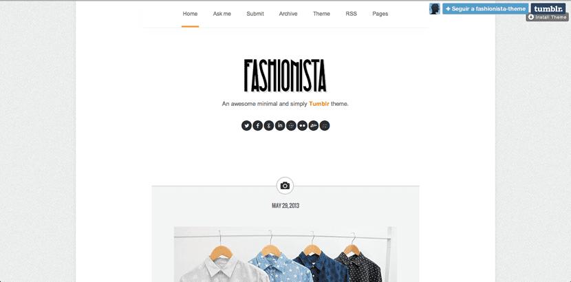 Plantilla de Tumblr para fashionistas