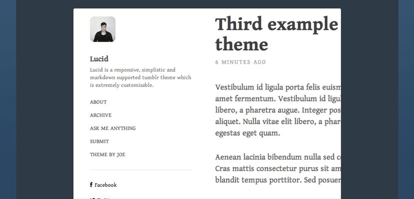 Lucid, tema muy sencillo para Tumblr