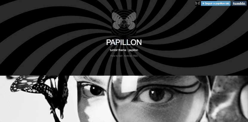 Papillon, tema negro para Tumblr