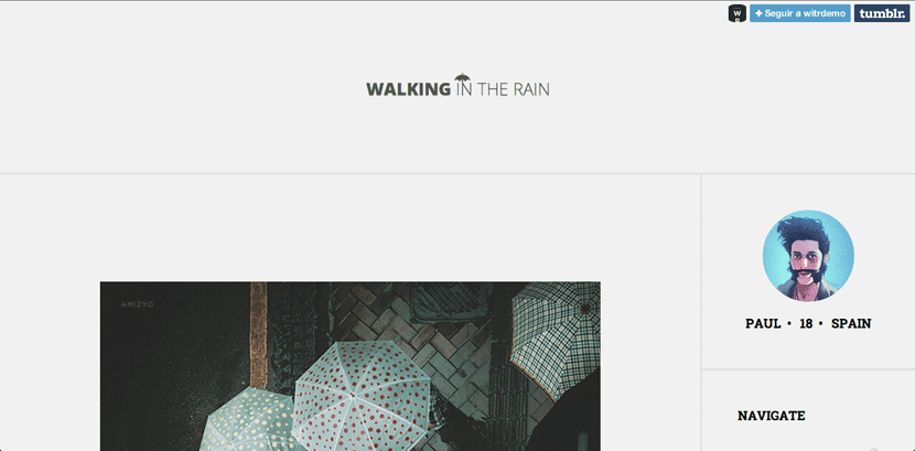 Walking in the rain, tema gratis para Tumblr