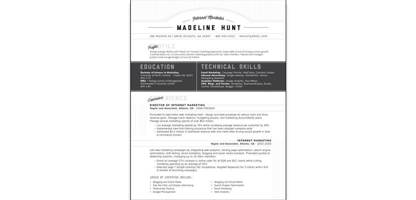 Curriculum en blanco y negro