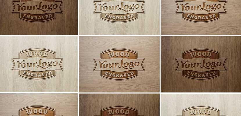 Logo grabado sobre maderas diferentes