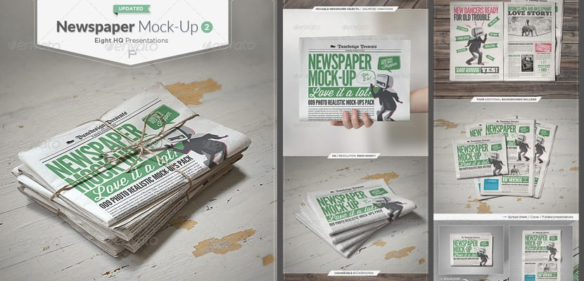 Mockup hiperrealista de periódico