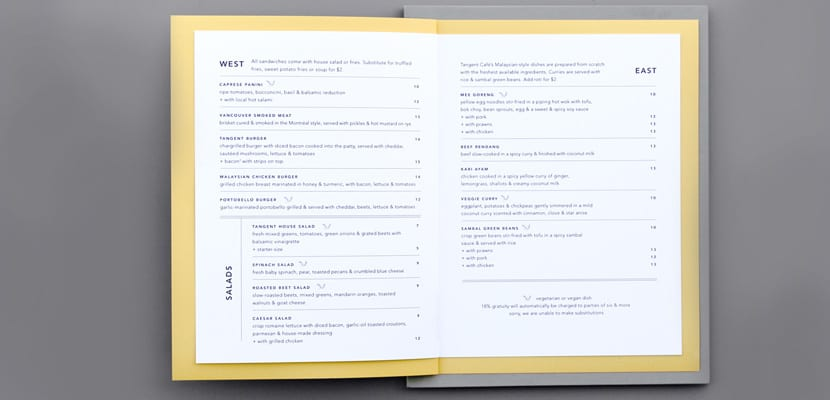 Menú de restaurante (abierto)