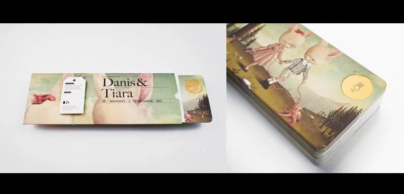 Invitación de boda ilustrada de Danis y Thiara