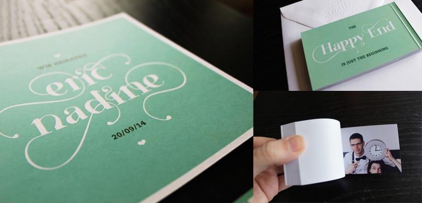 Invitación verde con flipbook