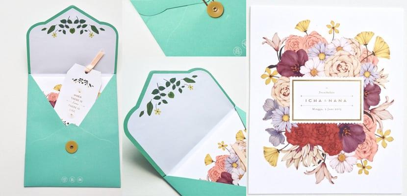 Flores en invitación de boda
