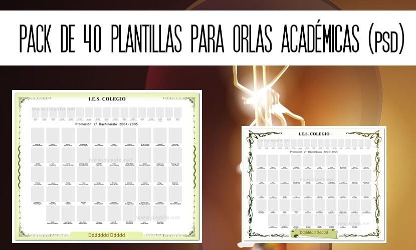Pack de 40 plantillas para orlas académicas en PSD