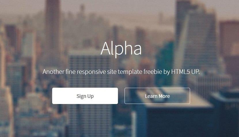 Alpha, otra de las plantillas web responsive