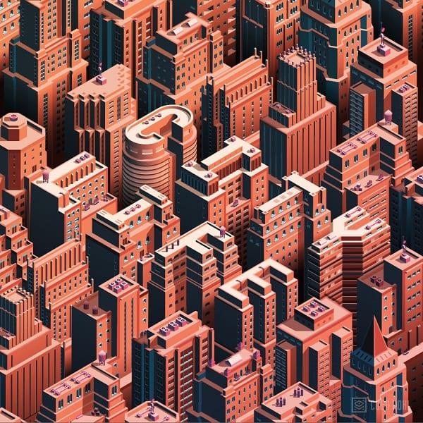 Ciudad isométrica 3D