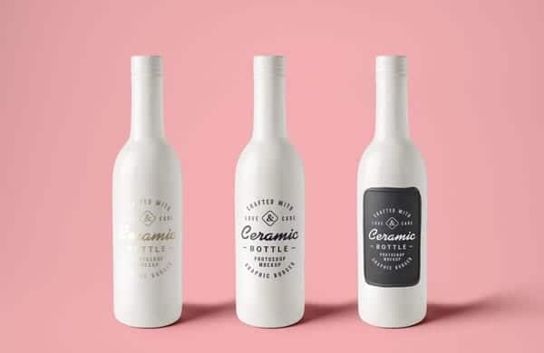 Botellas cerámica mockup