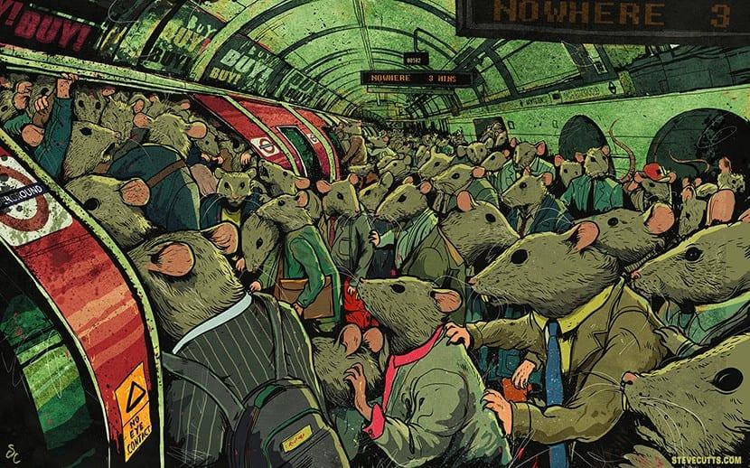 Steve Cutts ratas en el metro
