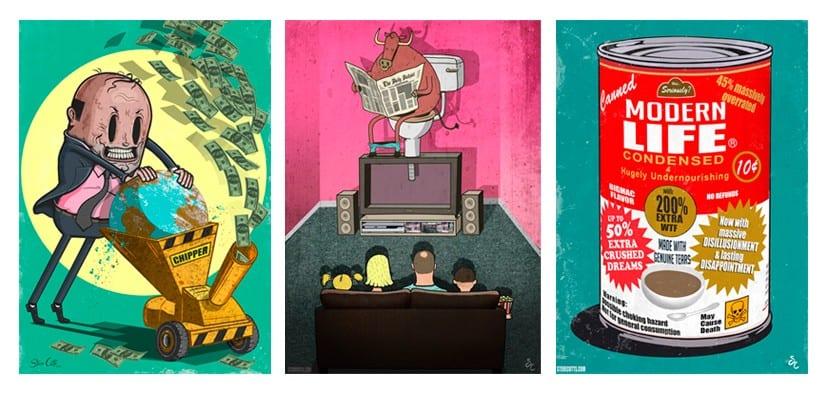 Steve cutts tres ilustraciones