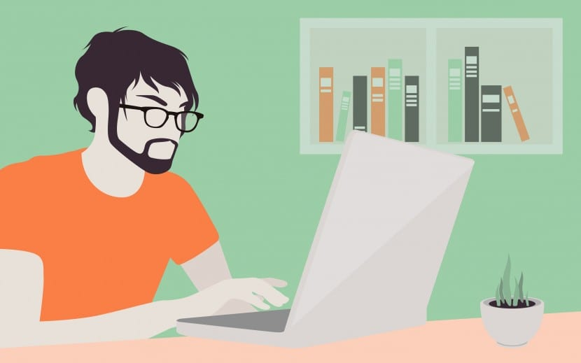 Flat design modern vector illustration lifestyle concept of handsome man in casual T-shirt sitting at the desk and working on laptop in the office. Isolated on stylish colored background