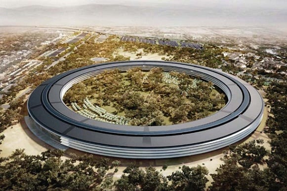 An artist's rendering provided to the media on Thursday, March 8, 2012, shows the proposed new Apple Inc. campus, which would have 2.8 million square feet of office space and sit on 175 landscaped acres in Cupertino, California, U.S. Apple is leading the biggest leasing surge in California's Silicon Valley since the dot-com boom, as the company plans a futuristic new home and technology firms expand uses of the Internet. Source: City of Cupertino via Bloomberg EDITOR'S NOTE: EDITORIAL USE ONLY. NO SALES.