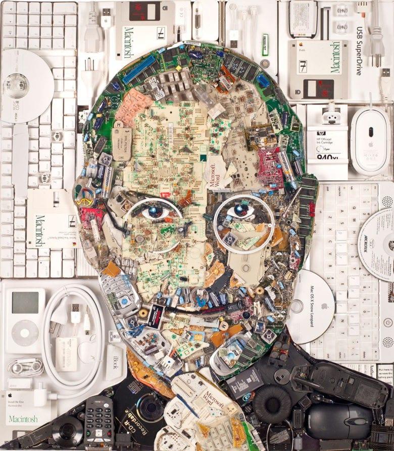 steve jobs retrato piezas ordenador