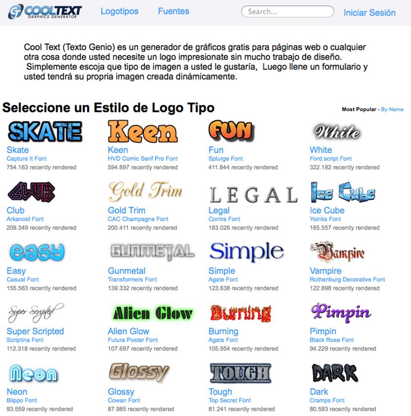 cooltext para crear tu logo