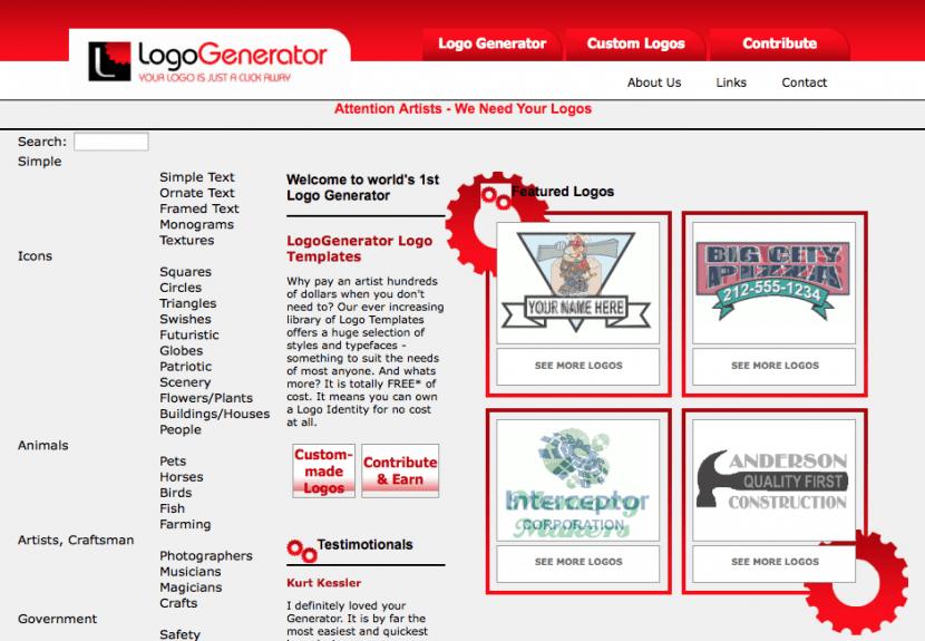 4.logogenerator para el diseño de logos gratis
