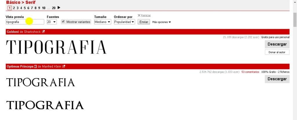 Descargar tipografías. http://www.dafont.com/es/