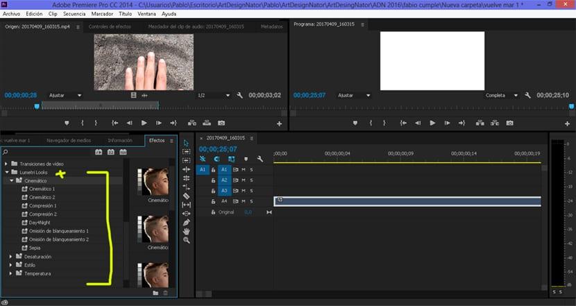 catálogo de efectos en Adobe Premiere