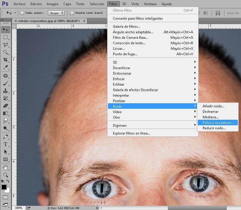 filtro polvo y rascaduras de photoshop
