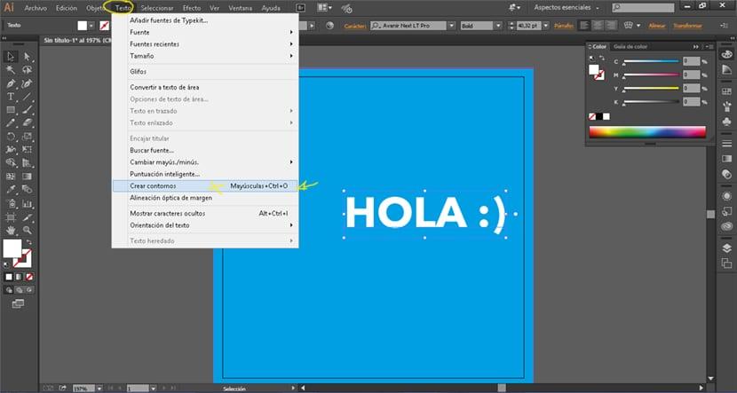 Convertir texto a curvas antes de llevar el diseño a la imprenta