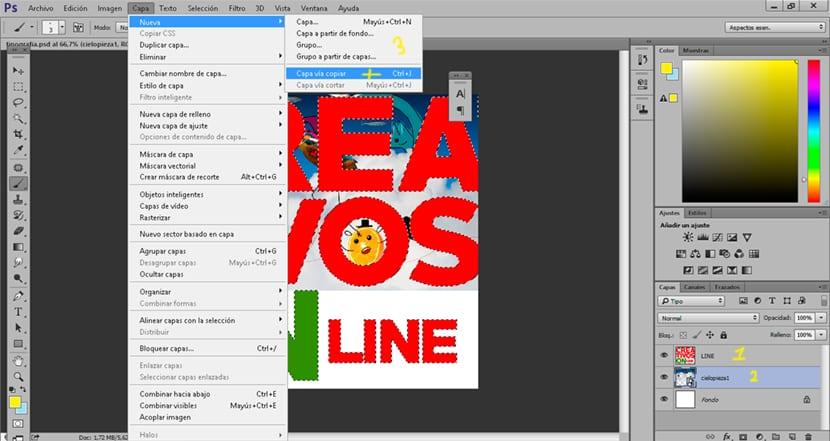Aplicamos las imágenes al interior de la tipografía usando photoshop.