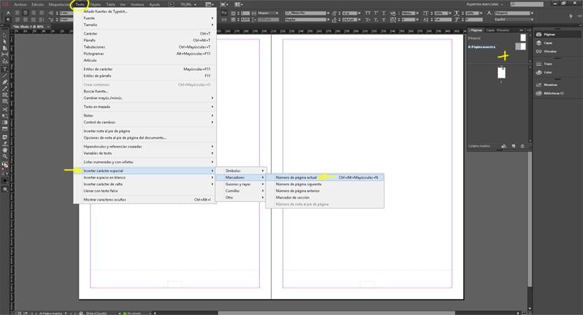 La opción de marcador nos permite crear un numero de página