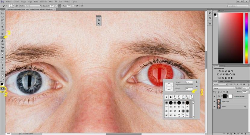 La máscara de capa de photoshop permite crear selecciones como si fuera un pincel