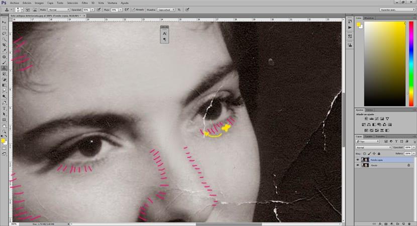 Hay que tener cuidado con las luces y las sombras cuando hacemos una restauración de una fotografía en photoshop