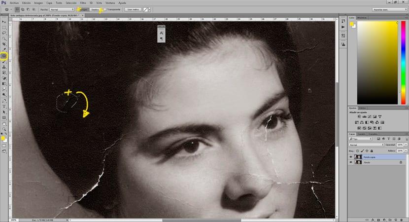 La herramienta parche de Photoshop es una forma rápida de arreglar una zona dañada en una imagen.