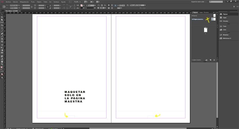 Creamos la maquetación con un cuadro de texto para el numero de pagina