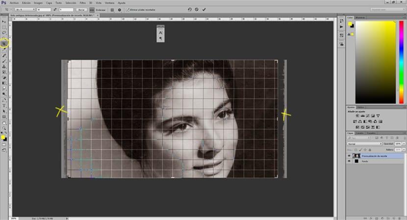 Usamos la herramienta recortar parar acortar la imagen